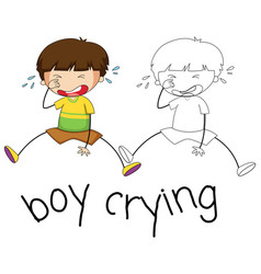Doodle boy crying character vector
