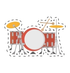 Drum kit precussion musical dotted line vector