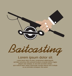 Fishing Rod In Hand EPS10 vector image