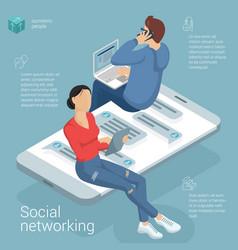 flat design social network template vector image
