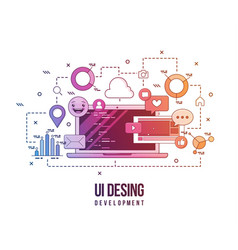 flat for ui-ux design web design vector image