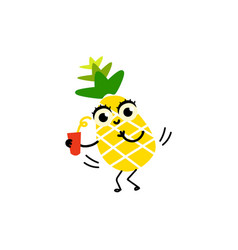 Flat funny pineapple fruit character party vector