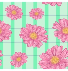 Floral seamless background with pink daisy eps10 vector image