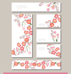 Floral spring templates with cute bunches of red vector