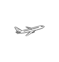 flying plane hand drawn outline doodle icon vector image