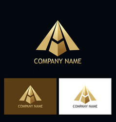 gold letter a arrow company logo vector image