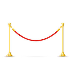 Golden barricade with red rope - barrier rope vip vector