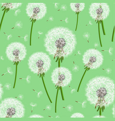 green seamless background with dandelion blowing vector image