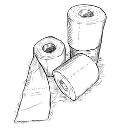 hand drawing of rolls of toilet paper vector image