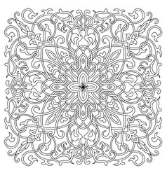 hand-drawn mandala art tile in oriental style vector image