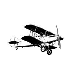 hand drawn sketch biplane aircraft in black vector image
