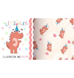 happy birthday dinosaur - seamless pattern vector image