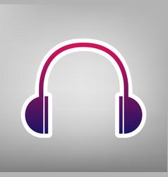 headphones sign purple vector image