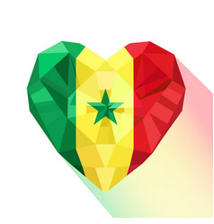 Heart with flag of the republic of senegal vector