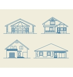 Houses linear 6 vector image
