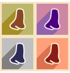 Icons of assembly human nose in flat style vector