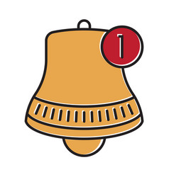 Inbox message bell notification flat colour icon vector