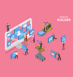 isometric flat concept website builder vector image