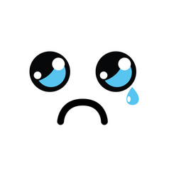 Kawaii cute crying face icon vector