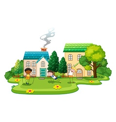 Kids doing exercises in front of houses vector