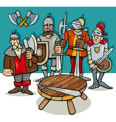 knights of the round table cartoon vector image