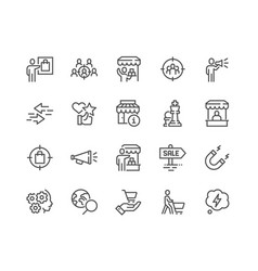 line marketing strategy icons vector image