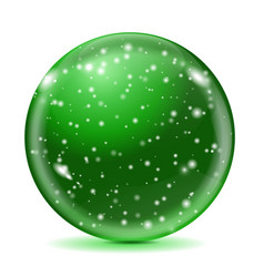 magic green ball with snowflakes vector image