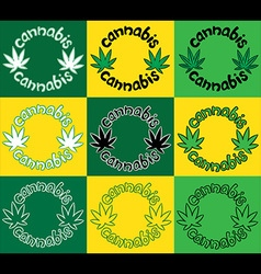 Marijuana cannabis leaf symbol stamps vector