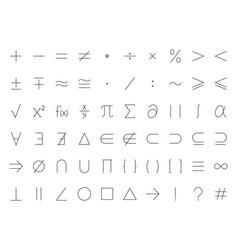math symbols flat line icons set mathematical vector image