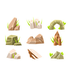 Natural brow rocks different shape collection vector