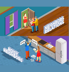 Neighbors relations isometric banners vector