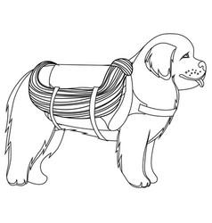 Newfoundland dog lifesaver outline vector