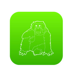 Orangutan icon green vector