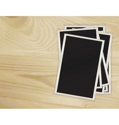 photos on a wooden vector image