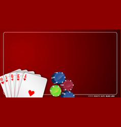 Poker cards with colorful chips vector