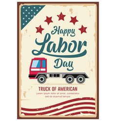 Poster labor day car truck america vintage vector