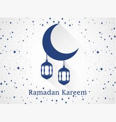 ramadan kareem lantern and moon with long shadow vector image