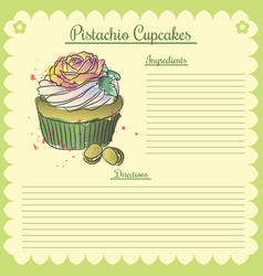recipe pistachio cupcake vector image