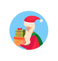 santa claus carrying gift box face profile avatar vector image
