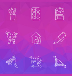School icons line style set with school backpack vector