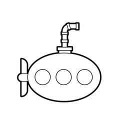 Sea submarine isolated icon vector