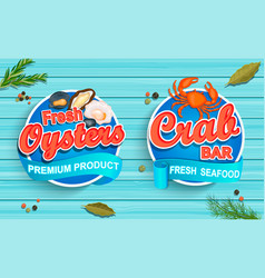 Seafood emblems on blue wooden background vector