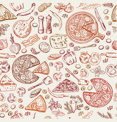Seamless pattern with classical italian foods vector
