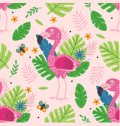 seamless pattern with cute pink flamingo vector image