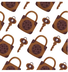 Seamless pattern with key locks and keys vector