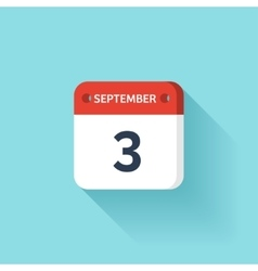 September 3 Isometric Calendar Icon With Shadow vector image