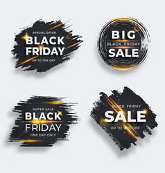 set four black brush strokes with flare black vector image