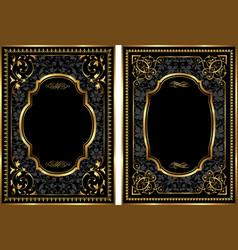 set of gold vintage style frames vector image