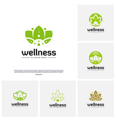 set of wellness logo design concept nature leaf vector image