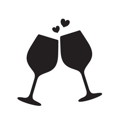 silhouette two sparkling glasses wine or vector image